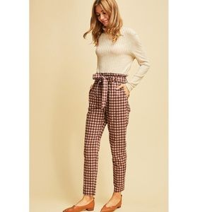 Gingham Wine Color High Waisted Ankle Pants